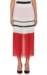 N Nicholas Women's Variegated Striped Knife Pleated Midi Skirt No Color