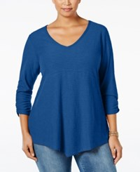 Styleandco. Style Co. Plus Size Ruched Sleeve Handkerchief Hem Top Only At Macy's Blue Oasis