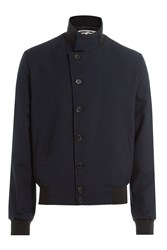 Mcq By Alexander Mcqueen Virgin Wool Jacket With Leather Patch Blue