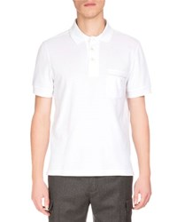 Berluti Short Sleeve Polo Shirt W Striped Pocket White