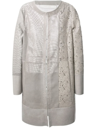 Drome Leather Perforated Coat Grey