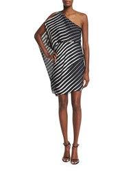 Halston Heritage One Sleeve Striped Caftan Dress Black Oyster Size 6 Black Oystr Cscding