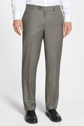 Nordstrom Flat Front Wool Trousers Brown