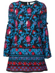 Tanya Taylor Floral Embroidery Dress Black