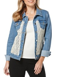 Rafaella Crocheted Lace Paneled Denim Jacket Bay Blue