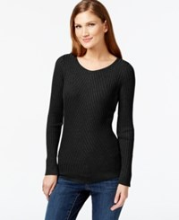 Inc International Concepts Petite Ribbed Crew Neck Sweater Only At Macy's Black