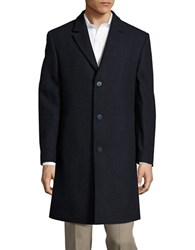 Calvin Klein Textured Wool Blend Coat Navy