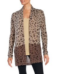 Ply Cashmere Animal Print Cardigan Brown Combo