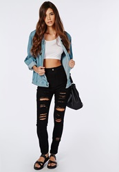 Missguided Brigitte High Waisted Extreme Ripped Skinny Jeans Black Black