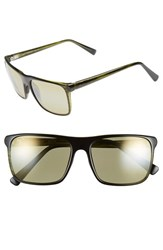 Women's Maui Jim 'Flat Island' 58Mm Polarized Sunglasses Olive Stripe Maui Ht