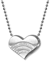 Alex Woo Little Faith Rainbow Heart Pendant Necklace In Sterling Silver