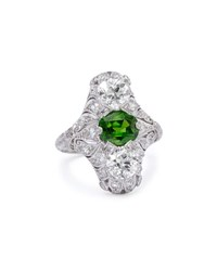 Estate Edwardian Demantoid Garnet Dinner Ring