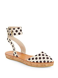 Alice Olivia Reese Polka Dot Ankle Strap Platforms Cream Black