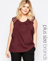 Junarose Plus Una Top With Lace Detail Red