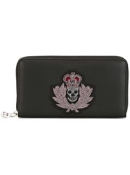 Alexander Mcqueen Skull Badge Continental Wallet Black