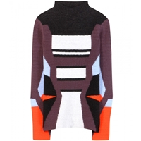 Peter Pilotto Colour Block Wool Blend Sweater Aubergine