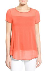 Women's Vince Camuto Chiffon Panel Short Sleeve Knit Top Coral Shock