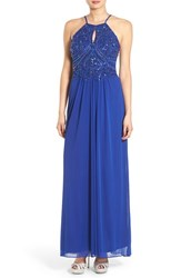 Blondie Nites Women's 'Kimmie' Embellished Open Back Halter Gown Royal