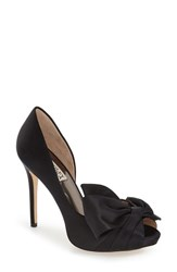 Women's Badgley Mischka 'Niara' Peep Toe Pump Black Satin