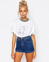 Lazy Oaf Ribbed Neck T Shirt With Bad Luck Bunny Print White