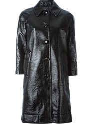 Marc Jacobs Single Breasted Pleather Coat Black