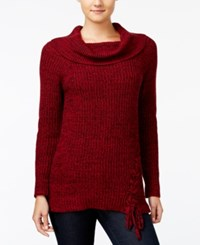 Jessica Simpson Lace Up Cowl Neck Sweater Biking Red
