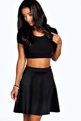 Boohoo Roseanna Colour Pop Skater Skirt Black