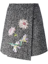 Blumarine Herringbone Skirt Black