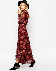 Abercrombie And Fitch Wrap Front Chiffon Maxi Dress Red