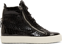 Giuseppe Zanotti Black Patent Croc Embossed London High Top Sneakers