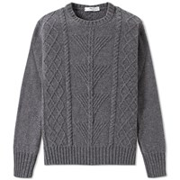 Inis Meain Fern Cable Aran Crew Knit Grey