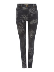 Biba Palm Printed Super Stretch Skinny Jeans Grey