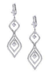 Sterling Silver Diamond And White Sapphire Marquise Flower Dangle Earrings