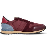 Valentino Studded Leather And Suede Trainers Wine