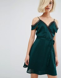 J.O.A Cold Shoulder Cami Slip Dress With Lace Wrap Front Green