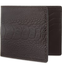 Tom Ford Reptile Embossed Ostrich Leather Wallet Dark Brown