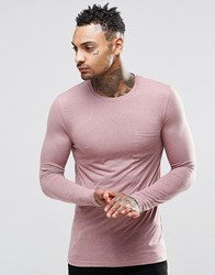 Asos Linen Mix Muscle Long Sleeve T Shirt With Pocket In Pink Pink
