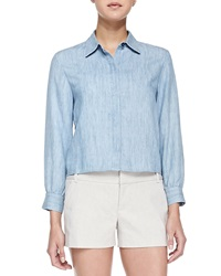 Alice Olivia Greer Clean Placket Chambray Shirt