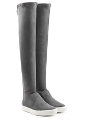 Pierre Hardy Suede Over The Knee Boots Grey