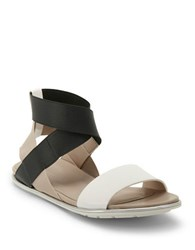 Kenneth Cole Oscar Flat Sandals Black White