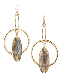 Devon Leigh 24K Gold Plate Labradorite Double Hoop Earrings