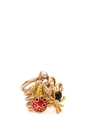 Forever 21 Kitschy Bug Ring Set Red Gold
