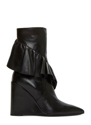 J.W.Anderson Wedged Ruffle Mid Calf Boots Black