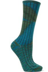 M Missoni Striped Wool Blend Socks Blue