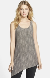 Print Scoop Neck Asymmetrical Silk Tank Online Only Stone