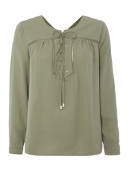 Vince Camuto Lace Up Embellished Blouse Green