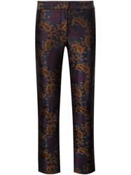 Yigal Azrouel Jacquard Straight Cropped Trousers Blue