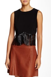 Lucyparis Sienna Faux Leather Fringe Tank