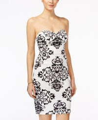B Darlin Juniors' Printed Strapless Sheath Dress White Black