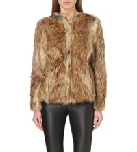 Karen Millen Faux Fur Jacket Brown